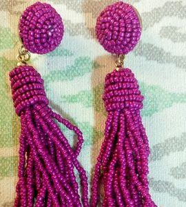 Brand NEW seed bead purple tassel earrings NWOT